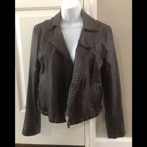 NWOT brown express faux leather jacket
